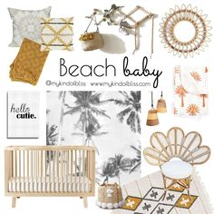 Recreate this tropical nursery at home with this warm colour palette and natural. Recreate this tropical nursery at home with this warm colour palette and natural bohomian inspired decor. (nursery d Coastal Nursery, Boho Nursery, Nursery Neutral, Natural Nursery, Natural Bedding, Beach House Style, Beach House Decor, Warm Colour Palette, Warm Colors