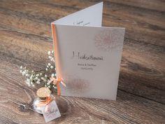 """Menükarte """"dalia"""" apricot Hochzeitsmenü von *Formatreich-Hochzeitskarten* auf DaWanda.com"""