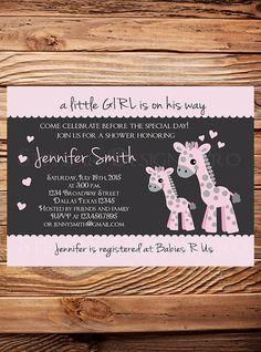 Hey, I found this really awesome Etsy listing at https://www.etsy.com/listing/234761847/giraffe-baby-shower-invitation-girl-girl