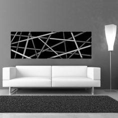 Quadri Astratti | XL nero   SI-095XL | 180x60 cm con particolari in acciaio inox