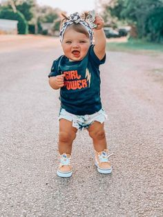 GIRL POWER ⚡️ True to size unisex kids tee. Printed on kiddy kat or rabbit skins brand tee. 100% cotton. Western Baby Clothes, Western Babies, Baby Kids Clothes, Country Babies, Kids Clothing, So Cute Baby, Cute Babies, Cute Baby Girl Outfits, Cute Outfits For Kids