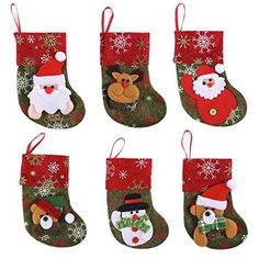 JOYIN Set of 12 Mini Christmas Stockings Gift & Treat Bags for sale online Mini Christmas Stockings, Mini Stockings, Christmas Tree, Treat Bags, Gift Bags, Reindeer, Snowman, Felt Material, Christmas Decorations