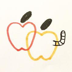 #apples #sketch by joeypasko Apple Illustration, Character Illustration, Digital Illustration, Sketch Inspiration, Art Journal Inspiration, Art Inspo, School Scrapbook, Simple Art, Cute Drawings