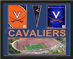 Two framed 8 x 10 inch University of Virginia photos of University Of Virginia, Mascot with a University of Virginia mini pennant and small stadium panoramic, double matted in team colors to 28 x 22 inches.  CAVALIERS* is cut into the top mat and shows the bottom mat color.  (Pennant design subject to change) $159.99  @ ArtandMore.com