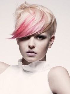 Pink bangs on short platinum hair