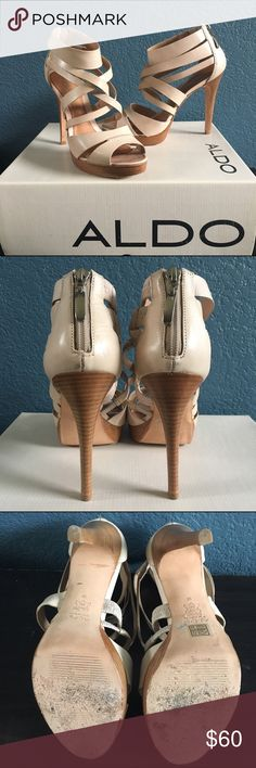 """Aldo Pillarella Nude Heels •Lightly worn •Leather sole •Heel is 4.5"""" and platform is 3/4"""" •Small marks shown in last pic   check out the FREE with purchase items Aldo Shoes Heels"""