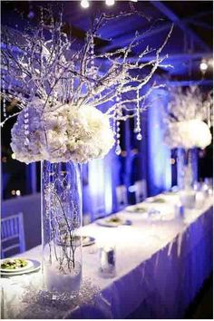 Centre de table mariage hiver bleu aqua , bleu glace mariage decoration table