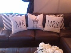 Burlap style Canvas Mr and Mrs throw pillows by HurstCreations, $35.00