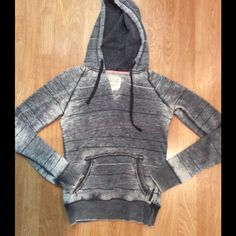 Billabong hoodie Grey burnout hoodie in cotton/poly. Subtle stripes in black, white, and pink. No flaws! Billabong Sweaters