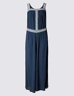 Buy the Fit & Flare Embroidered Jumpsuit from Marks and Spencer's range. Festival Outfits, Festival Fashion, Occasion Dresses, Indigo, Women Wear, Summer Dresses, Mini, Flare, Prints