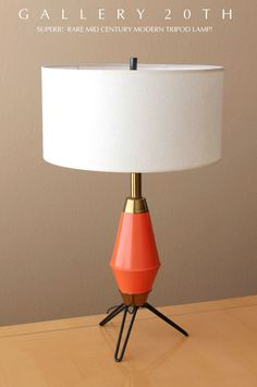 MID CENTURY MODERN ORANGE BLACK TRIPOD ROCKET LAMP! Atomic Eames 50s Vtg Sputnik