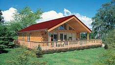 """Log Home Design Plan and Kits for Newport - """"This one-story log home is a real winner with the stellar wrap-around deck! The Newport has a gl - Log Cabin Floor Plans, Log Home Plans, Barn Plans, Small Log Cabin, Log Cabin Homes, Log Cabins, Mountain Cabins, Free House Plans, Log Home Living"""
