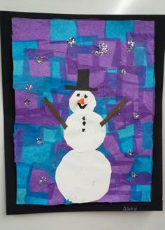 Snowman with paper tissue background