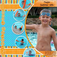 scrapbook page layouts | swimming lessons summer 2006 taylor layout by amanda credits scraplift
