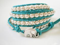 Turquoise+Jewelry+Leather+4X+Wrap+with+Elephant+by+RopesofPearls,+$48.00