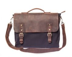 Waxed Canvas Leather Laptop Messenger Bag for Men & Women - Navy w/ Brown in Various Sizes