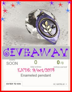Jewelry Designer Blog.: Giveaway of an enameled pendant, value $40.00. Ends: Oct/9, 2014