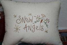 Snowman Angel Little Pillow  Bowl Filler  Tuck  by jennysfolkart, $6.99