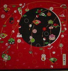 Furoshiki Japanese Fabric Shogatsu Mochi and Cranes New Year/'s Motif Cotton 50cm