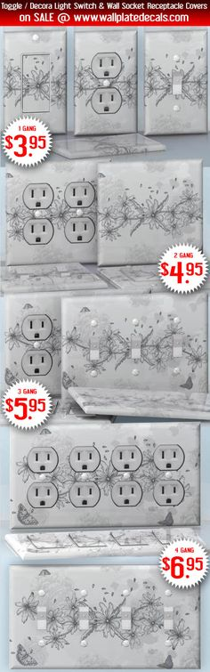 DIY Do It Yourself Home Decor - Easy to apply wall plate wraps | Grey Butterflies #2  Grey and white flowers and butterflies  wallplate skin stickers for single, double, triple and quadruple Toggle and Decora Light Switches, Wall Socket Duplex Receptacles, and blank decals without inside cuts for special outlets | On SALE now only $3.95 - $6.95