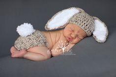 Crochet Baby Hat Easter Bunny Rabbit Ears Free Shipping Photo Prop Diaper Cover Cotton Tail Pom Pom via Etsy