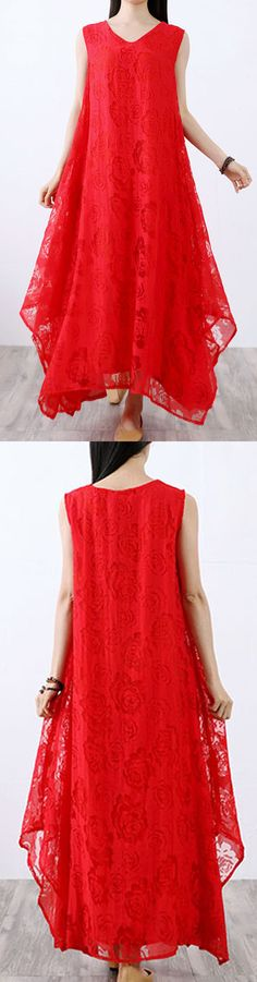 Vivid asymmetric cotton Long dress red v neck Plus Size Dresses summer Pretty Summer Dresses, Long Summer Dresses, Summer Dress Outfits, Long Dresses, Summer Clothes, Cotton Wedding Dresses, Cotton Long Dress, Cotton Dresses, New Dress