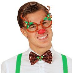 Rendier bril. Een grappige bril met een rendier gewei en een rode Rudolph neus…