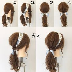 HAIR (Hair) is a site where trend information gath. - Delores HAIR (Hair) is a site where trend information ga. Hair Scarf Styles, Curly Hair Styles, Hair Styles With Bandanas, Scarf In Hair, Hair With Headband, Scarf Updo, Updo Styles, Headband Hairstyles, Pretty Hairstyles