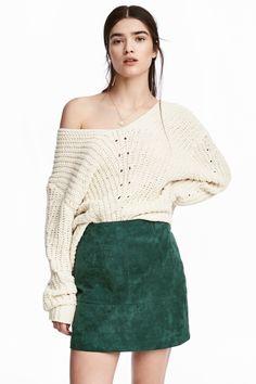 Falda corta de ante - Verde oscuro - MUJER | H&M ES