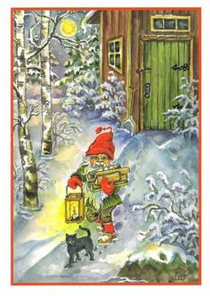 ˇˇ Christmas Tale, Vintage Christmas Cards, Christmas 2017, Vintage Cards, All Holidays, Christmas Illustration, The Elf, Beautiful Christmas, Gnomes