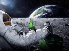 Astronaut enjoying drink at moon.