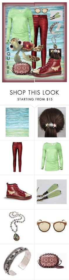 """""Squirt"" - Finding Nemo Inspired Set"" by aurorasblueheaven ❤ liked on Polyvore featuring RtA, Venley, Disney, Le Specs, NOVICA and Kate Spade"