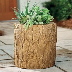 Bring a charming touch to your outdoor space with garden statues and lawn decorations. Shop stylish lawn ornaments and patio decor at Grandin Road. Tree Stump Planter, Planter Pots, Crushed Stone, Grandin Road, Rustic Chic, Indoor Plants, Halloween Decorations, Outdoor Decor, Outdoor Living