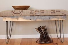 Reclaimed wood and a burlap sack.