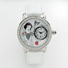 Disney Snow White Silver-Tone Simulated Crystal and Mother-of-Pearl Leather Watch