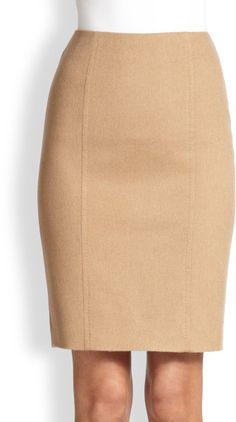 Max Mara Camel Wool Pencil Skirt