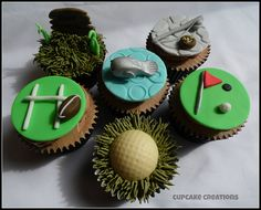 Fishing, Golf & Rugby Cupcakes