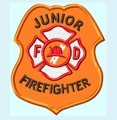 Fire Department Junior Firefighter Badge APPLIQUE Embroidery Designs   INSTANT DOWNLOAD