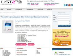 Citrix Customer List is perfect for all your marketing needs - http://www.list2tech.com/citrix-software-users-customers-marketing-email-list.php