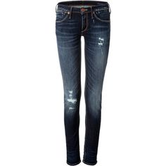 True Religion - Skinny Jeans (230 CAD) ❤ liked on Polyvore featuring jeans, pants, bottoms, denim, blue, skinny leg, women, skinny fit denim jeans, skinny fit jeans and frayed jeans
