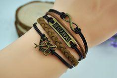 Vintage infinity braceletlove braceletblack by HandmadeTribe, $4.50