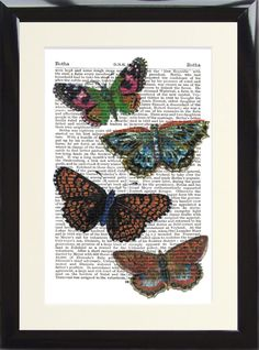 Butterfly Antique Dictionary Page Art Print Picture Moth Victorian Shabby Chic 1