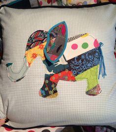 Patchwork elephant cushion cover cushion by HandmadebyHolchester