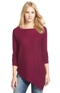 Halogen® Asymmetrical Cashmere Sweater (Regular & Petite)