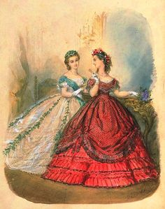 Fashion Plates and Ephemera! Victorian Ball Gowns, Victorian Era Dresses, Vintage Gowns, Vintage Outfits, Vintage Ladies, Edwardian Fashion, Vintage Fashion, 1850s Fashion, Civil War Fashion
