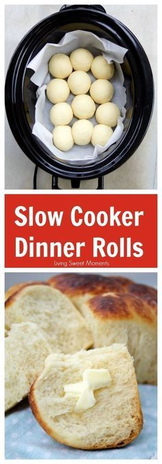 Easy Slow Cooker Dinner Rolls By livingsweetmoment. These Slow Cooker Dinner R. Easy Slow Cooker Dinner Rolls By livingsweetmoment. These Slow Cooker Dinner Rolls do not require proofing and are sweet, soft and delic. Crock Pot Slow Cooker, Crock Pot Cooking, Bread In Slow Cooker, Slow Cooker Breakfast, Slow Cooker Meals, Breakfast Cooking, Breakfast Healthy, Sweet Breakfast, Breakfast Ideas