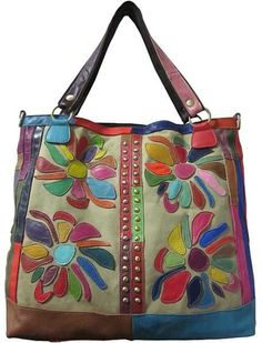 $73, Multi colored Floral Tote Bag: Rosalie Amerileather Leather Tote Bag. Sold by Overstock. Click for more info: http://lookastic.com/women/shop_items/26632/redirect