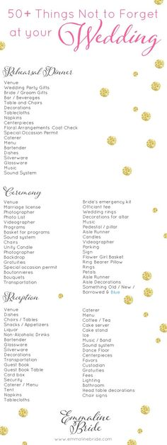 And, remember, not all things will apply to every wedding. This is merely a checklist. Feel free to X out the things you won't need.