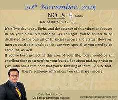 #Numerology predictions for 20th November'15 by Dr.Sanjay Sethi-Gold Medalist and World's No.1 #AstroNumerologist