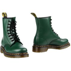 Dr. Martens Ankle Boots (410.210 COP) ❤ liked on Polyvore featuring shoes, boots, ankle booties, emerald green, short boots, leather combat boots, combat booties, army boots and leather booties